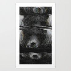 Bear Glitch Art Print