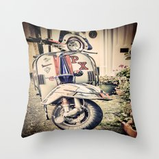 Vintage Moped Throw Pillow