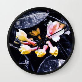 black and white leaves pink yellow white flowers jasmine Wall Clock