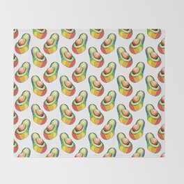 rainbow avocado pattern Throw Blanket