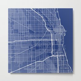Chicago Map, USA - Blue Metal Print