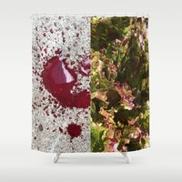 trout Shower Curtains featuring Dog's blood & spotted trout lettuce by Max Schultz