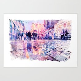 Dublin Watercolor Streetscape Art Print