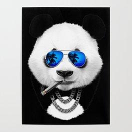 Blue Summer Panda Poster