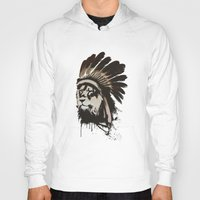 headdress Hoodies featuring Lion Headdress by Alyn Spiller
