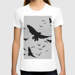 FLOCK OF RAVENS IN GREY SKY T-shirt