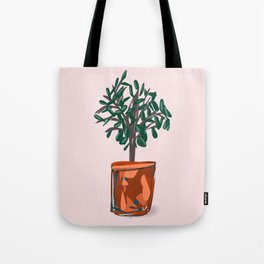 Houseplant in semi-abstract pot Tote Bag