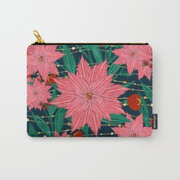 Trendy Poinsettia Flowers and golden stripes and dots image Carry-All Pouch