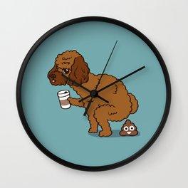 Coffee makes Poodle poop Wall Clock