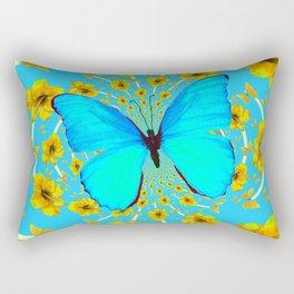 BLUE BUTTERFLY YELLOW AMARYLLIS PATTERNED ART Rectangular Pillow