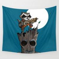 groot Wall Tapestries featuring Rocket & Groot by mebz art