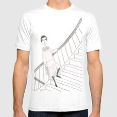 girl on a stair MEDIUM Mens Fitted Tee White