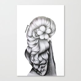 Black & White Pencil Sketch - Wavy Hair Flower Girl Canvas Print