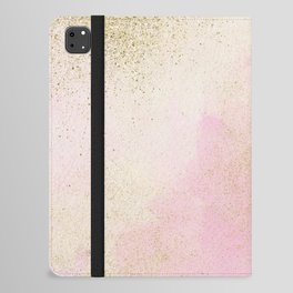 Pretty In Pink And Gold Delicate Abstract Painting iPad Folio Case