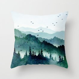 Watercolor Mountains - Handpainted Landscape Art Pine Trees Forest Wanderlust Throw Pillow
