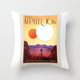 Kepler-16b - NASA Space Travel Poster Throw Pillow