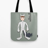 wild things Tote Bags featuring Wild Things by Kenneth Shinabery