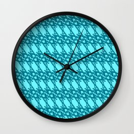Braided diagonal pattern of wire and light blue arrows on a blue background. Wall Clock
