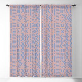 Mudcloth No. 1 in Blush + Dusty Blue Blackout Curtain