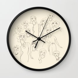 Lady Friends - black on off-white Wall Clock