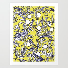 Orange Blossoms on Citron Art Print