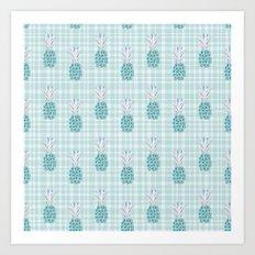 Floral Pineapple Plaid Teal Art Print