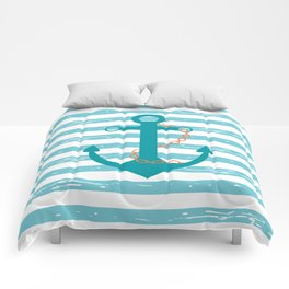 AFE Nautical Teal Ship Anchor Comforters
