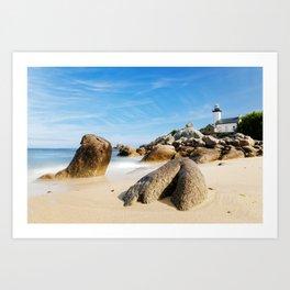 Lighthouse on Brittany Beach Art Print