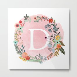 Flower Wreath with Personalized Monogram Initial Letter D on Pink Watercolor Paper Texture Artwork Metal Print