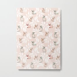 leaf and bunny pattern animal and branch design Metal Print