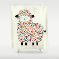 sheep Shower Curtains featuring Bubble Sheep by Andy Westface