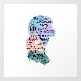Jane Austen Bookworm Quote Art Print