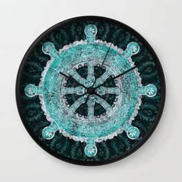 Dharma Wheel - Dharmachakra Silver and turquoise Wall Clock