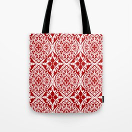 BOHEMIAN PALACE, ORNATE DAMASK: RED and WHITE Tote Bag