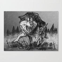 Sif, the Great Grey Wolf (B&W) Canvas Print
