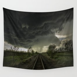 Give Me Shelter - Storm Over Railroad Tracks in Kansas Wall Tapestry