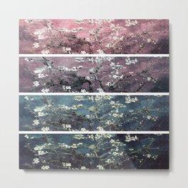 Vincent Van Gogh Almond Blossoms Panel Dark Pink Eggplant Teal Metal Print