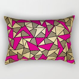 Glam Faux Gold, Black, and Pink Striped Triangles Geometric Rectangular Pillow