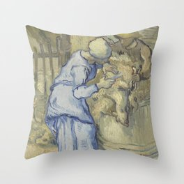 The Sheepshearer (after Millet) Throw Pillow