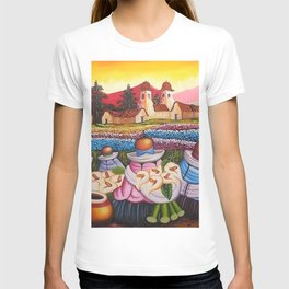 Calla Lily Sellers amid the Poppy Fields & Ranunculus landscape painting T-shirt