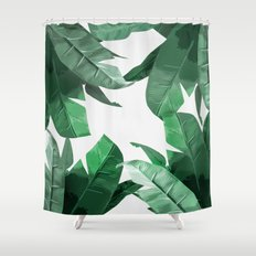 Tropical Palm Print Shower Curtain