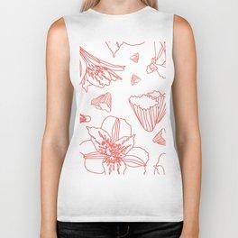 Pink Lily Flower Pattern on White Biker Tank