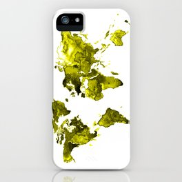 World map, golden world map, watercolor iPhone Case