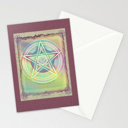 Rainbow Ghosted Pentacle Stationery Cards