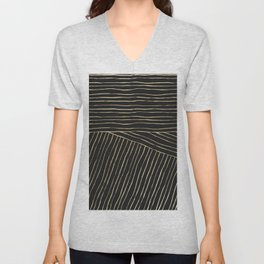 Elegant modern geometrical gold black stripes Unisex V-Neck
