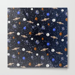Moon and planets pattern Metal Print