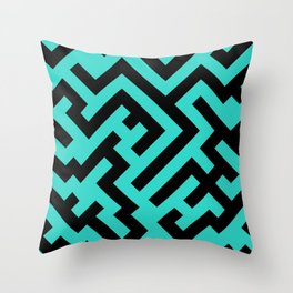 Black and Turquoise Diagonal Labyrinth Throw Pillow