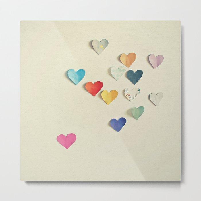 Paper Hearts Metal Print