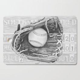 Softball (black and white) Cutting Board