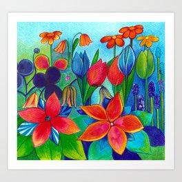 Flower Garden: Luscious Red Art Print